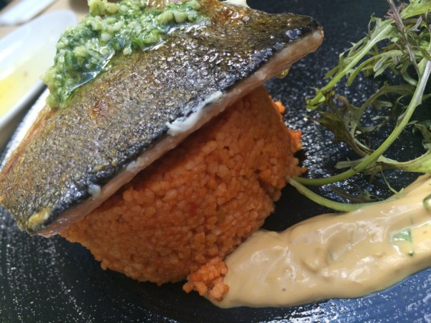 catch of the day (Lachsforelle), tomaten-cous cous, mandel-raita