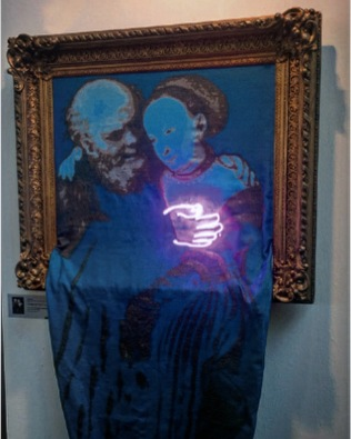 Jan Kuck The unequal couple (Old man in love III), Old Masters New Edition after Lucas Cranach the Elder -1525 2017 textile, Neon, antique wood frame 119 x 250 x 15 cm, Unique